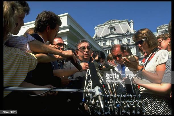 Soviet Mideast envoy Yevgeny Primakov mobbed by press outside WH after mtg. W. Pres. Bush.