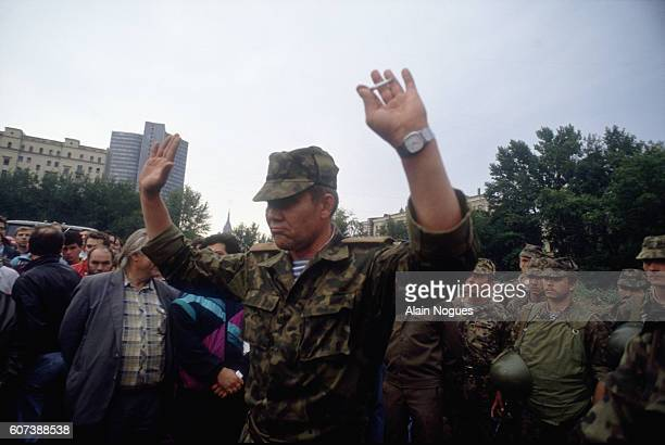 Soviet military leader Alexander Lebed arrives with his troops to occupy Moscow during a 1991 coup attempt. The State Committee for the State of...