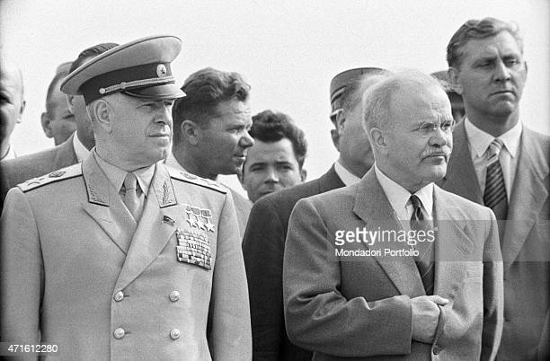 Soviet Minister of Foreign Affairs Vyacheslav Molotov and Soviet general politician and Minister of Defence Georgy Zhukov taking part in the Geneva...