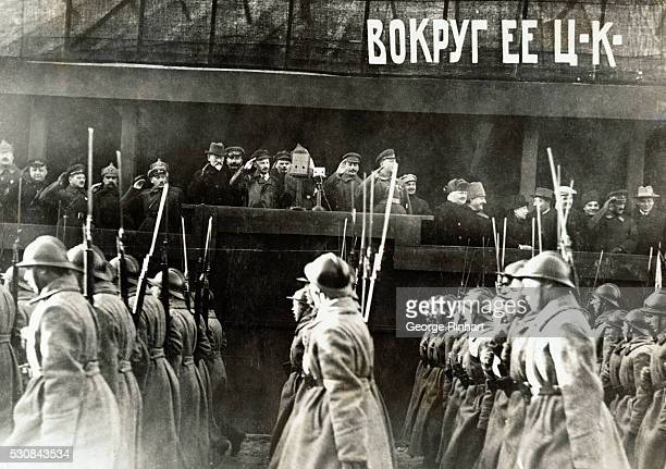 Soviet officials including Joseph Stalin watch military parade celebrating the anniversary of October Revolution here in Red Square On the podium are...