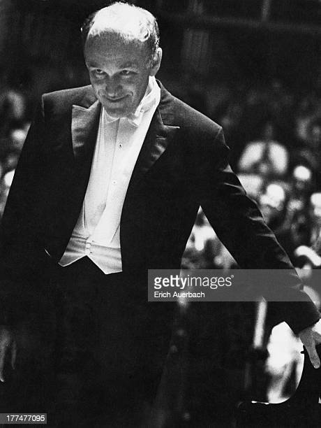 Soviet pianist Sviatoslav Richter takes the applause during a concert at the Royal Festival Hall, London, 10th July 1961.
