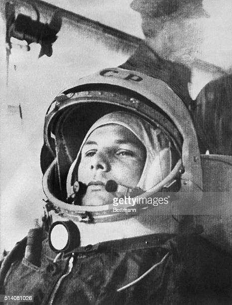 Soviet pilot Yuri Gagarin on his way to become the first man to orbit the Earth in the Soviet rocket Vostok 1