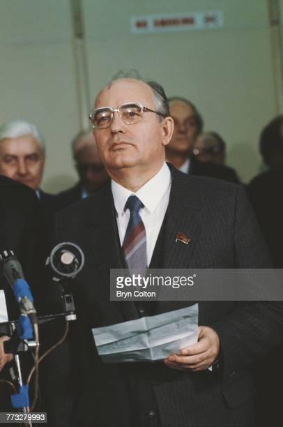 Soviet Politburo member Mikhail Gorbachev announces the death of Soviet Defence Minister Marshal Dmitri Ustinov, before returning to the Soviet Union...