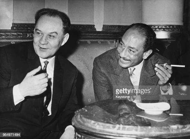Soviet politician Alexander Shelepin with Anwar Sadat Speaker of the National Assembly of Egypt during talks in Cairo Egypt 29th December 1964...