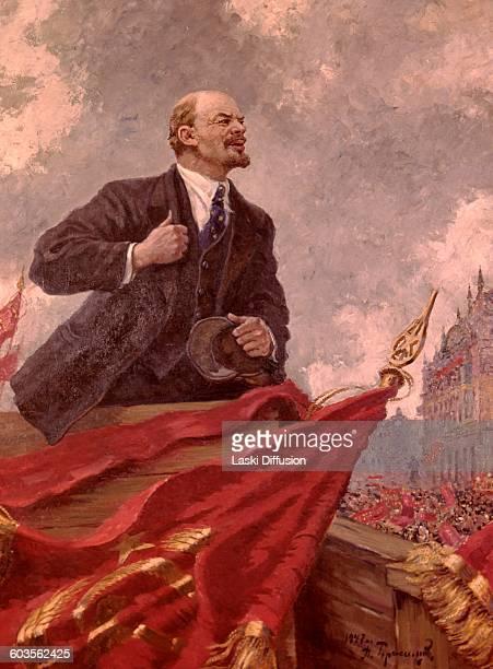 Soviet poster showing Vladimir Ilyich Ulyanov Lenin leader of the October Revolution A Gerasimov 1947