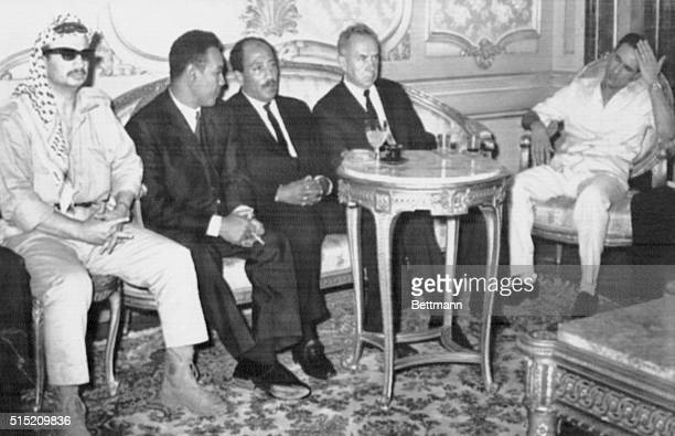 Soviet Premier Alexei Kosygin confers with Arab leaders here Oct 2 From left to right guerrilla leader Yasser Arafat Sudan's President Gaafer...