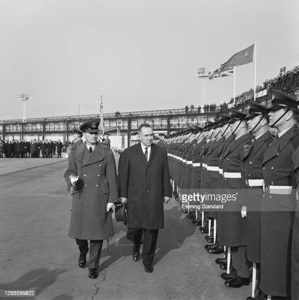 Soviet premier Alexei Kosygin reviews a guard of honour of British troops at Gatwick Airport, as he leaves the UK after a week-long visit, 13th...