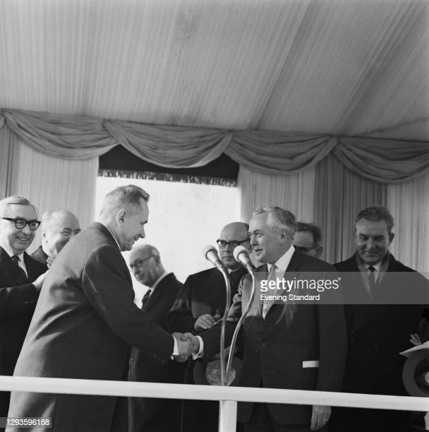 Soviet premier Alexei Kosygin shakes hands with British Prime Minister Harold Wilson at Gatwick Airport, as he leaves the UK after a week-long visit,...