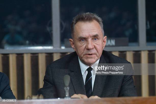 Soviet Premier and statesman Alexei Kosygin pictured at a press conference in New York after meeting with President Lyndon B Johnson at the Glassboro...