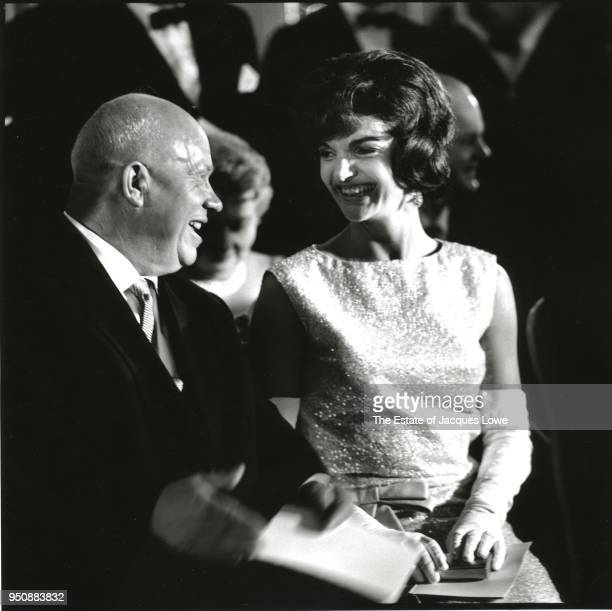 Soviet Premier Nikita Khrushchev and US First Lady Jacqueline Kennedy as they share a laugh together during a reception at Schoenbrunn Palace Vienna...