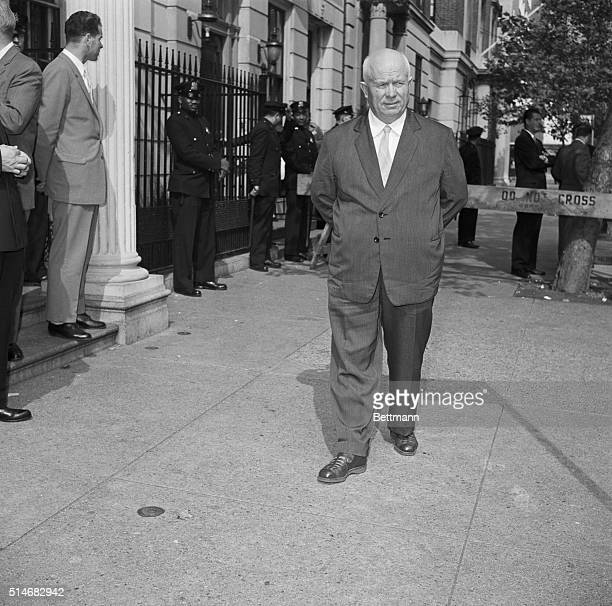Soviet Premier Nikita Khrushchev takes a confined walk on the sidewalk in front of Soviet United Nations Headquarters in New York City October 5 1960...