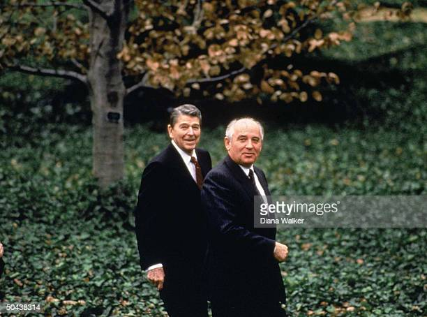 Soviet Pres Mikhail Gorbachev Pres Reagan out for stroll during summit in Wash DC