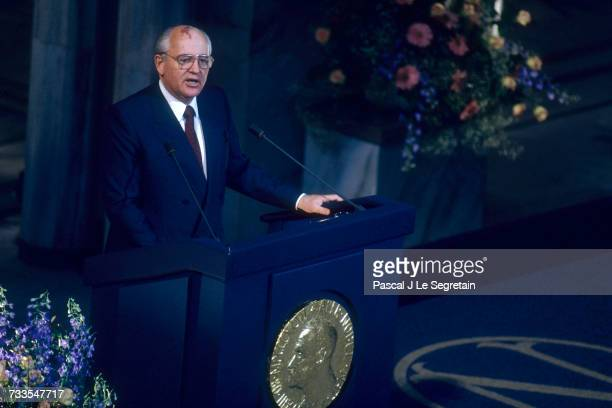 Soviet President Mikhail Gorbachev gives a speech at the Oslo town hall upon receiving the 1990 Nobel Peace Prize Gorbachev was given the award for...