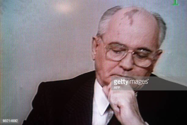 Soviet President Mikhail Gorbachev looks downcast as he addresses the Nation to announce his resignation on a TV image taken in Moscow on December 25...