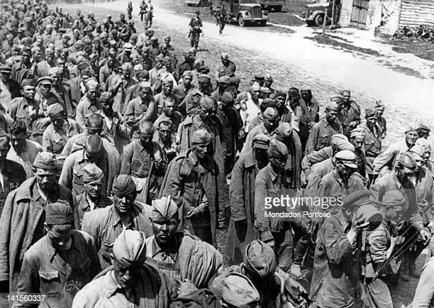 Soviet prisoners marching towards collecting camps Voronezh July 1942