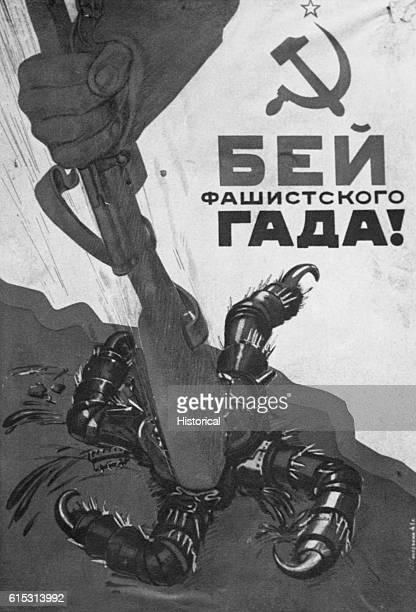 A Soviet propaganda poster created during World War Two depicts a soldier's arm destroying a swastikashaped reptilian creature with a rifle butt...