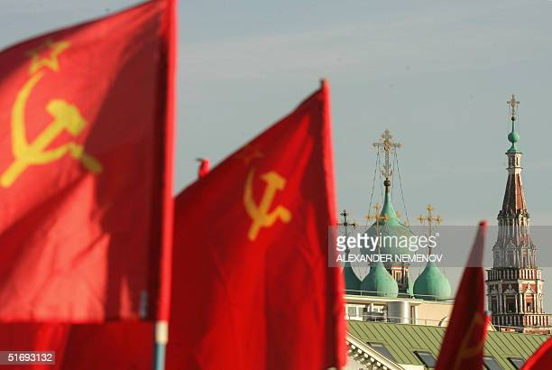 Soviet red banners are seen in Moscow as Communists mark the 87th anniversary of the 1917 October Bolshevik Revolution 07 November 2004 November 7...