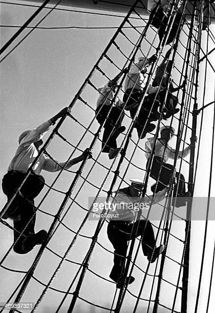 Training ship 'Krusenstern' Sailing practice