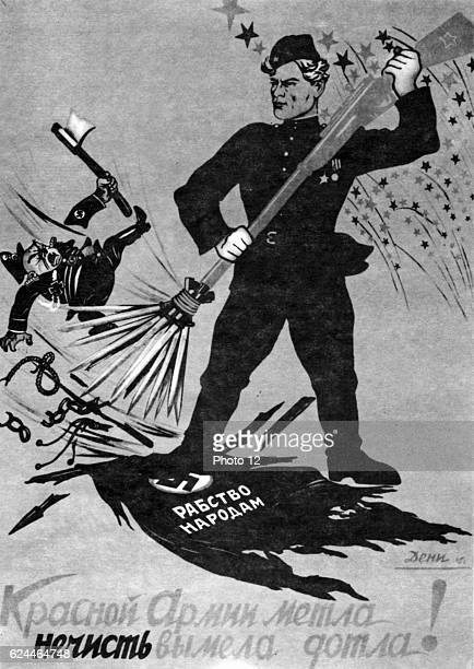 Soviet Russian poster showing Russia standing up to Nazi Germany 1941