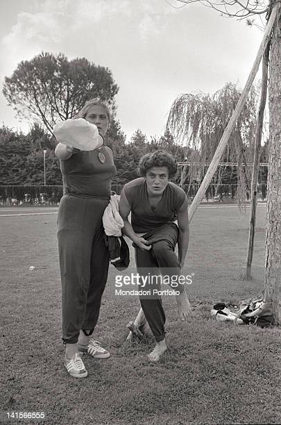 Soviet shot putter Tamara Press standing next to another shot putter in the training ground during the Rome Olympic Games Rome 1960