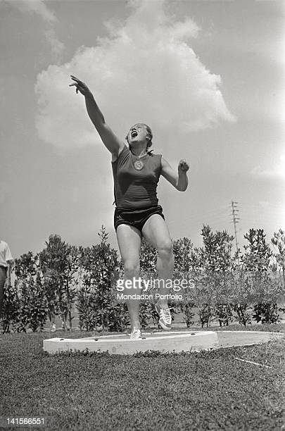 Soviet shot putter Tamara Press training at the Rome Olympic Games Rome 1960