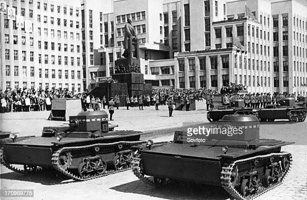 Soviet t38 amphibious tanks during a military parade in minsk on may 1 1939