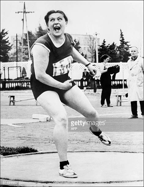 Soviet Tamara Press competes during the discus event at an athletics meeting in Adler on the Black Sea May 1963 with a throw of 5663 meters Tamara...