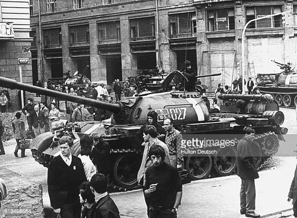 Soviet Tanks Pictured In The Centre Of Prague During The Occupation of Czechoslovakia August 27th 1968 Occupation of Czechoslovakia Russian Troops In...