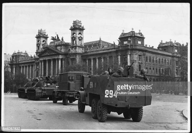 Soviet tanks surround the Parliament Building in Budapest during the repression of the antiCommunist revolution
