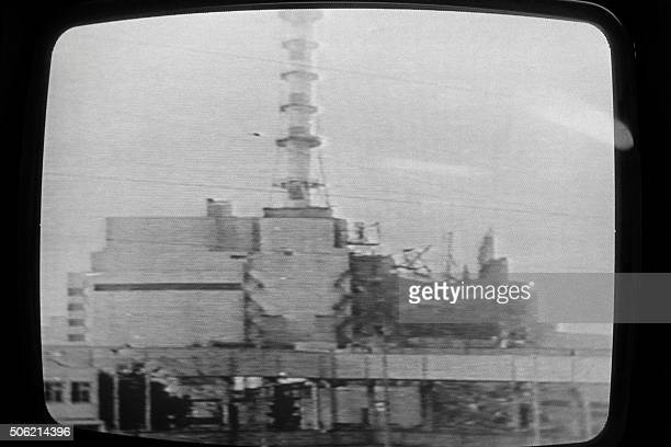 Soviet television showed, on April 30 this picture of the Chernobyl plant on which a half-destroyed building could be seen, but commentary said there...