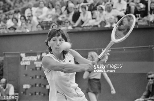 Soviet tennis player Olga Morozova defeats Evonne Goolagong of Australia in the finals of the Women's Singles at the Queen's Club Championships in...