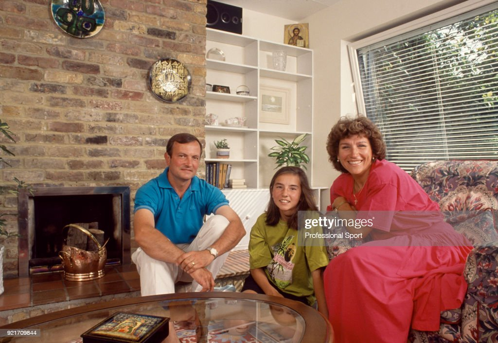 Soviet tennis player Olga Morozova poses with her family at home near Marlow, England circa 1985.