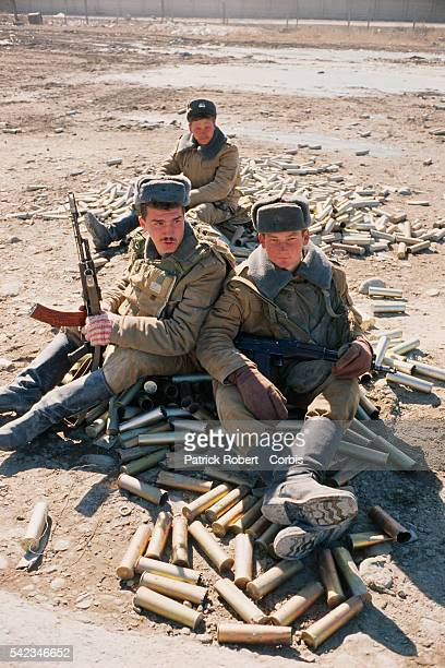 Soviet troops during the last days of their withdrawal from Afghanistan   Location Kabul Airport Afghanistan