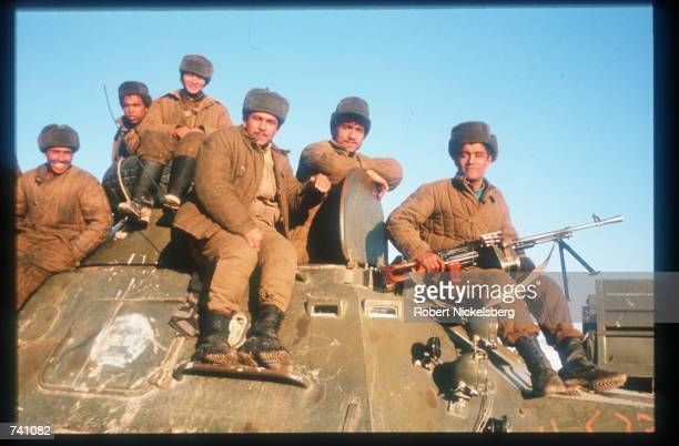 Soviet troops guard equipment along the Salang Highway January 14 1989 near Kabul Afghanistan The end of Soviet military occupation which began in...
