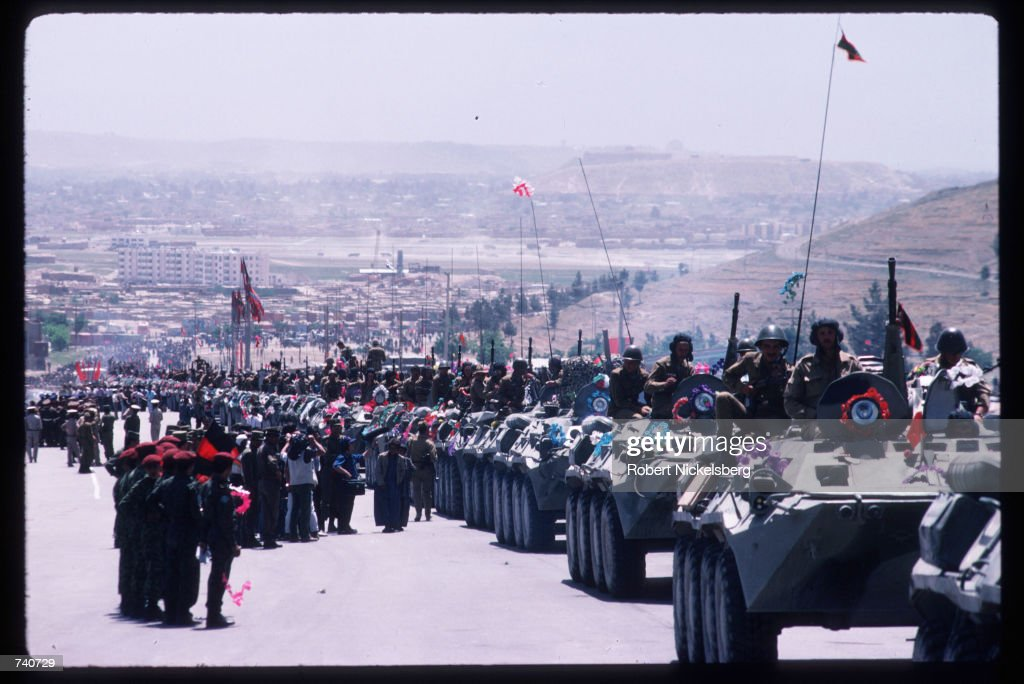 Soviet troops leave Afghanistan May 15, 1988 in Kabul, Afghanistan. In May 1988 Afghanistan, Pakistan, the USSR, and the United States signed agreements providing for an end to foreign intervention in Afghanistan, and the USSR began withdrawing its forces.