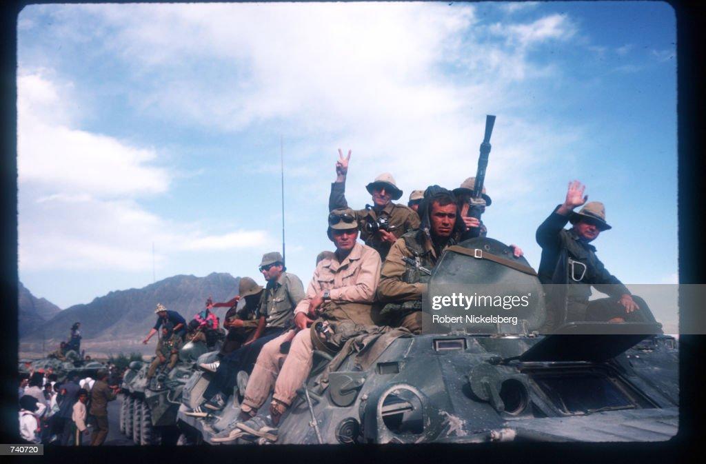 Soviet Troops Leave Afghanistan : News Photo