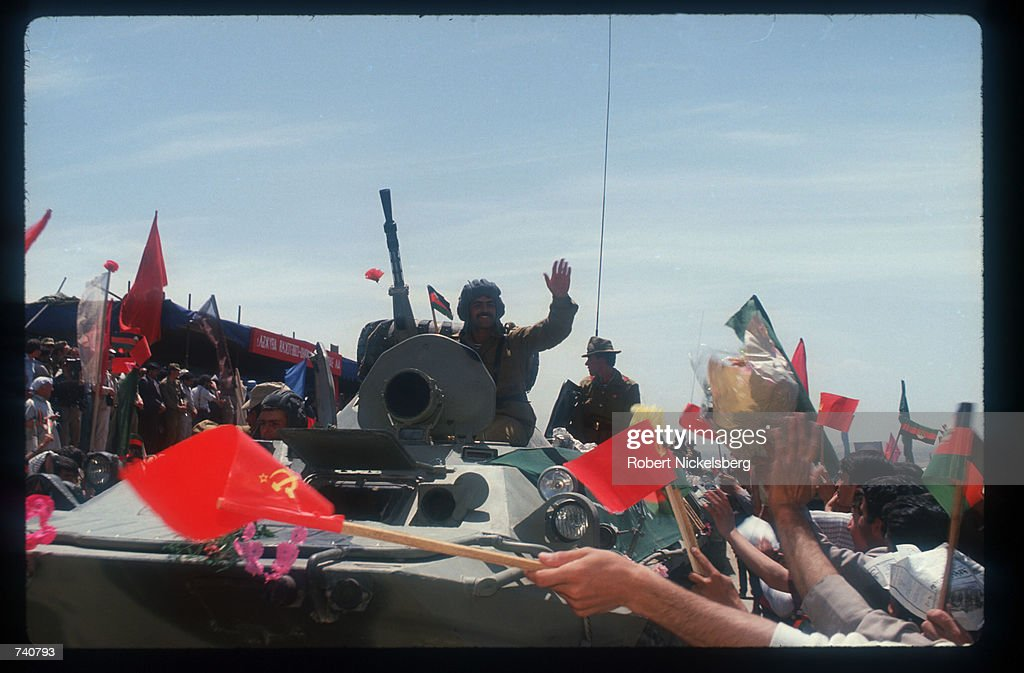 Soviet troops prepare to leave May 15, 1988 in Kabul, Afghanistan. In May 1988 Afghanistan, Pakistan, the USSR, and the United States signed agreements providing for an end to foreign intervention in Afghanistan, and the USSR began withdrawing its forces.