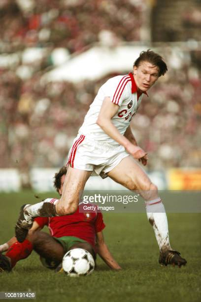 Soviet Union captain Oleg Blokhin in action during a 1984 European Championships qualifier against Portugal on November 13, 1983 in Lisbon, Portugal.