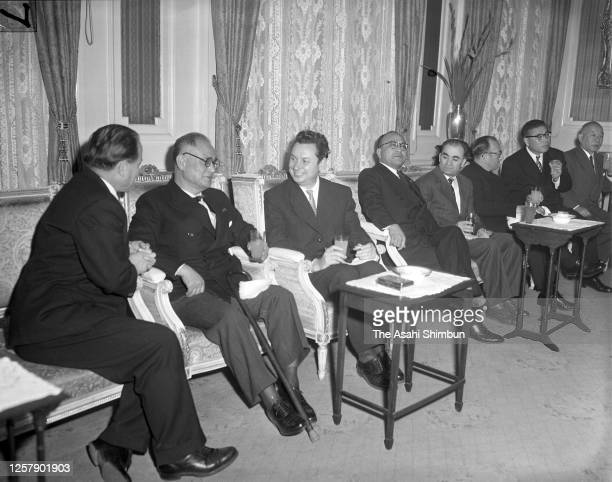 Soviet Union Deputy Foreign Minister Nikolai Fedorenko and Japanese Foreign Minister Mamoru Shigemitsu talk after the Soviet-Japanese Joint...