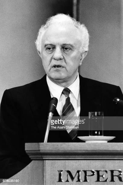 Soviet Union Foreign Minister Eduard Shevardnadze addresses on December 20 1988 in Tokyo Japan