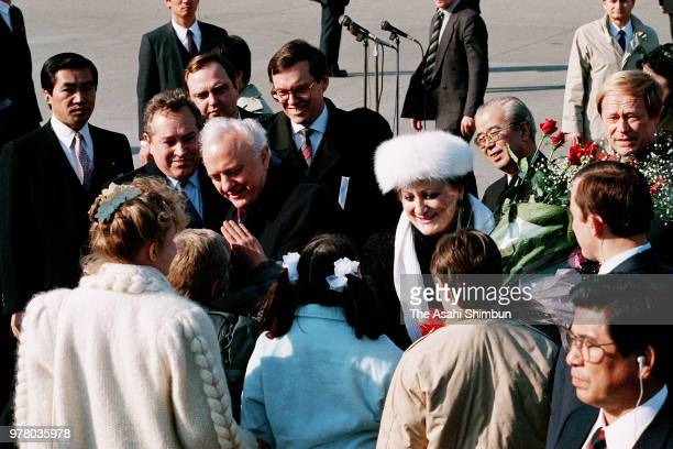 Soviet Union Foreign Minister Eduard Shevardnadze and his wife Nanuli are seen on arrival at Haneda Airport on December 18 1988 in Tokyo Japan