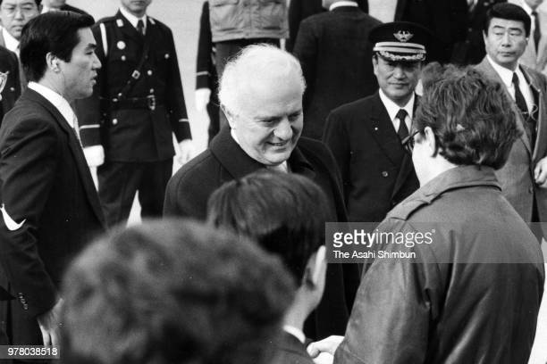 Soviet Union Foreign Minister Eduard Shevardnadze is seen on departure at Haneda Airport on December 21 1988 in Tokyo Japan