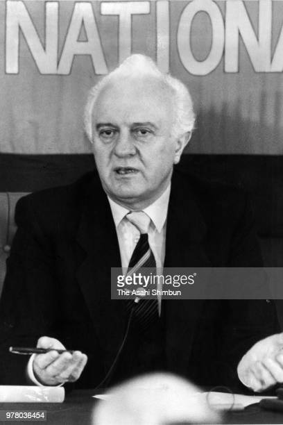 Soviet Union Foreign Minister Eduard Shevardnadze speaks during a press conference at the Japan National Press Club on December 21 1988 in Tokyo Japan