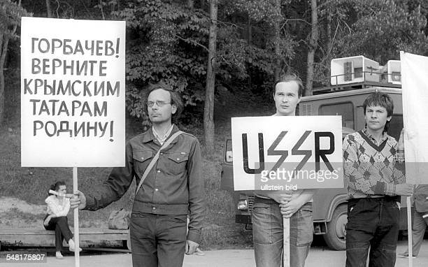 Soviet Union Lithuanian SSR Vilnius demonstration for independence of Lithuania from the Soviet Union left the slogan 'Gorbachev give the Crimea...