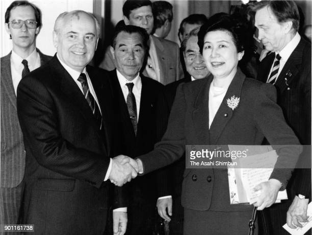 Soviet Union President Mikhail Gorbachev and Japan's Social Democratic Party leader Takako Doi prior to their meeting at the Akasaka State Guest...