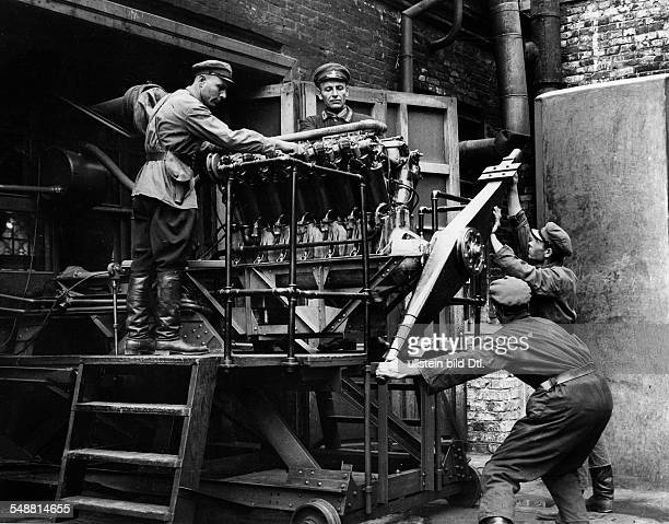 Soviet Union Russian SFSR Moscow Series Academy of Military Aviation soldiers are being trained in the maintenance of the engines 1933 Photographer...