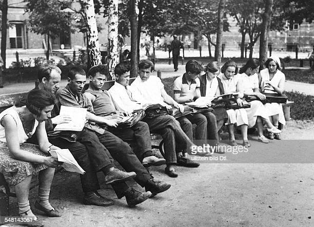 Soviet Union Russian SFSR Moscow Students of the Moscow University getting their reports one day before the end of the term around 1925 Photographer...