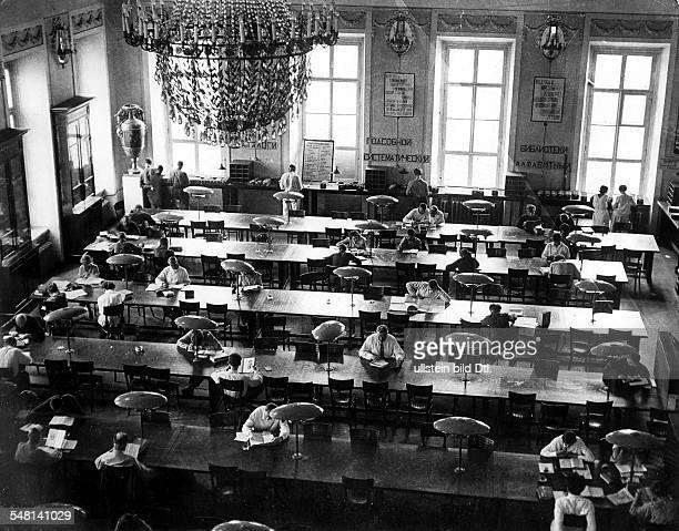 Soviet Union Russian SFSR Moscow View into the reading room of the Moscow University Library around 1925 Photographer James E Abbe Vintage property...