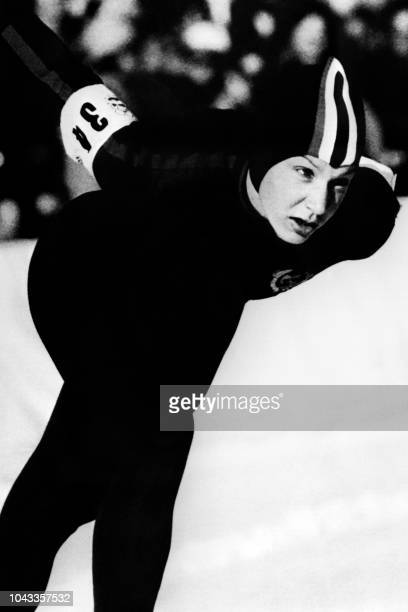 Soviet Union speed skater Tatyana Averina wins the first place at the Winter Olympic Games 3000m speed skating event on February 8 1976 in Innsbruck