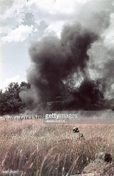 Soviet Union Ukrainian SSR World War II German soldiers taking cover in a cornfield on their advance to an ukrainian village summer 1941 Photographer...
